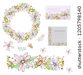 floral set with brush  wreath... | Shutterstock .eps vector #1205798140