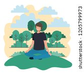young man sitting in the park | Shutterstock .eps vector #1205799973