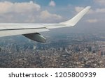 airplane wing seen from the... | Shutterstock . vector #1205800939