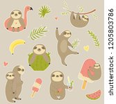big set of stickers with cute... | Shutterstock .eps vector #1205803786