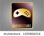 gold emblem with video game... | Shutterstock .eps vector #1205806516