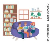 group of people with book in... | Shutterstock .eps vector #1205809360