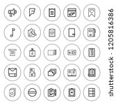 Stock vector list icon set collection of outline list icons with board clipboard canteen evidence edit 1205816386