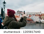 young beautiful girl tourist... | Shutterstock . vector #1205817640