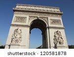 arc de triomphe from below paris   Shutterstock . vector #120581878