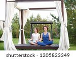 beautiful women sit on an open... | Shutterstock . vector #1205823349
