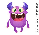 funny cute cartoon monster... | Shutterstock .eps vector #1205829280