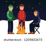 people enjoying fire in the... | Shutterstock .eps vector #1205832673