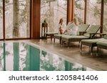 two pretty young women relaxing ... | Shutterstock . vector #1205841406