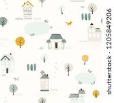 seamless pattern with houses ... | Shutterstock .eps vector #1205849206