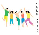 friends jumping together. five... | Shutterstock . vector #1205856913