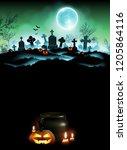 halloween night  background...   Shutterstock .eps vector #1205864116