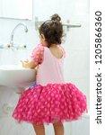 little toddler girl pink dress...   Shutterstock . vector #1205866360
