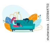 student girl  freelancer... | Shutterstock .eps vector #1205869753