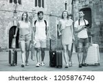 group of four young traveling... | Shutterstock . vector #1205876740