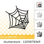 spider web thin line icon.... | Shutterstock .eps vector #1205878369