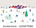 winter season background people ... | Shutterstock .eps vector #1205879080