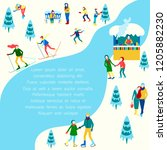 winter poster with people... | Shutterstock .eps vector #1205882230