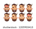 set of male facial emotions... | Shutterstock .eps vector #1205903413