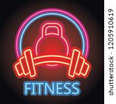 fitness gym center logo with... | Shutterstock .eps vector #1205910619