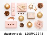 pink and gold christmas gifts... | Shutterstock . vector #1205913343
