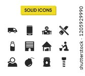 industrial icons set with... | Shutterstock .eps vector #1205929990