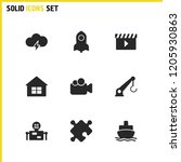 service icons set with film ...