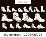 isolated vector set of women's... | Shutterstock .eps vector #1205935726