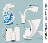 set of splashing swirling and... | Shutterstock . vector #1205941786
