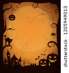 scary dark halloween poster. ... | Shutterstock . vector #1205949013