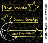 rest deeply.dream sweetly.sleep ...   Shutterstock .eps vector #1205955886
