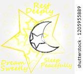 rest deeply.dream sweetly.sleep ...   Shutterstock .eps vector #1205955889