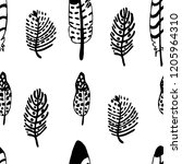 graphics hand drawn feather  | Shutterstock .eps vector #1205964310