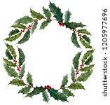 christmas watercolor wreath...   Shutterstock . vector #1205977696