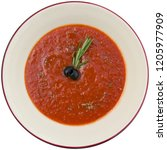 tomato soup on a white... | Shutterstock . vector #1205977909