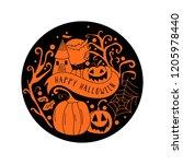 art card for happy halloween...   Shutterstock .eps vector #1205978440