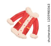 bright red jacket with buttons  ...   Shutterstock .eps vector #1205980363