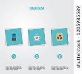 set of coffee icons flat style... | Shutterstock .eps vector #1205985589