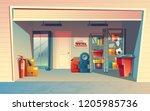 cartoon illustration of garage ... | Shutterstock . vector #1205985736