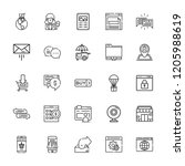 collection of 25 online outline ... | Shutterstock .eps vector #1205988619
