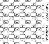 seamless pattern of envelopes...   Shutterstock . vector #1205989849