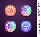 processors app icons set. ui ux ...