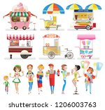 set of street food. trade...   Shutterstock . vector #1206003763