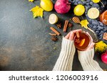 girl hold and drink cup of... | Shutterstock . vector #1206003916