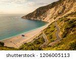 myrthos beach seascape and... | Shutterstock . vector #1206005113