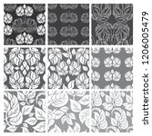 vector set of floral leafs... | Shutterstock .eps vector #1206005479