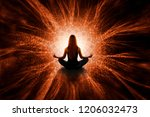 woman in meditation with mandala | Shutterstock . vector #1206032473