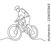 cyclist continuous line...   Shutterstock .eps vector #1206032863