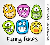 Funny vector faces. - stock vector