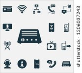 communication icons set with tv ... | Shutterstock .eps vector #1206037243